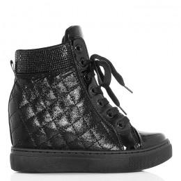 Trampki Czarne Pikowane Sneakersy Na Koturnie - Cyrkonie