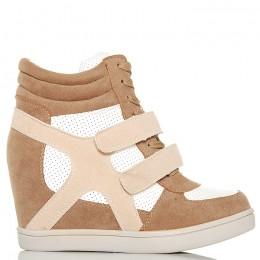 Sneakersy - Beżowo Białe Na Dwa Rzepy - Koturn