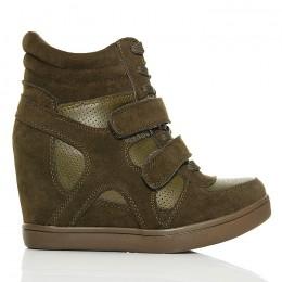 Sneakersy - Oliwkowe Na Dwa Rzepy - Koturn