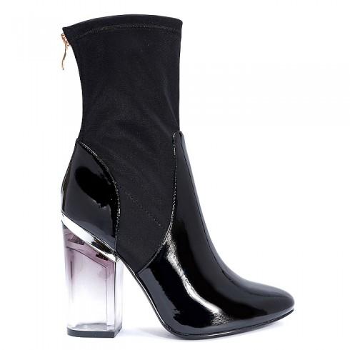 5d0f3e659bd4c nie-Botki Czarne High Fashion Transparentny Obcas 5824 - www.BUU.pl