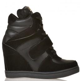 Sneakersy Na Koturnie Czarne Na Rzepę