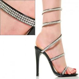 Sandały Czarne Cyrkoniowe Delikatne Sprężynka 5955