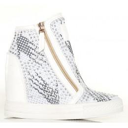 Sneakersy - Białe Nakrapiane - Złote Zamki Siatka