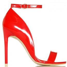 Sandały Czerwone Lakierowane - Pasek Na Kostce