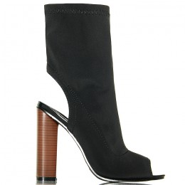 Botki Czarne Streczowe Na Słupku - Open Heel