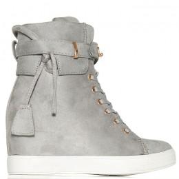 Sneakersy Szare Zamszowe Na Ukrytej Koturnie 5988