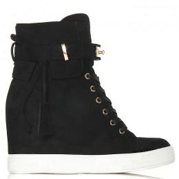 Sneakersy Czarne Zamszowe Na Ukrytej Koturnie