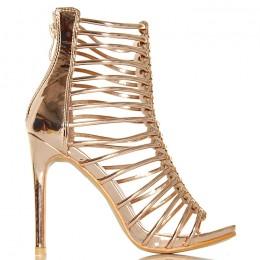 Sandały Przeplatany Pasek - Złote Sexy Gladiatorki