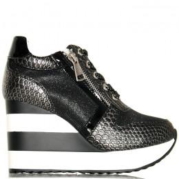 Sneakersy Czarne Krótkie Koturny W Paski