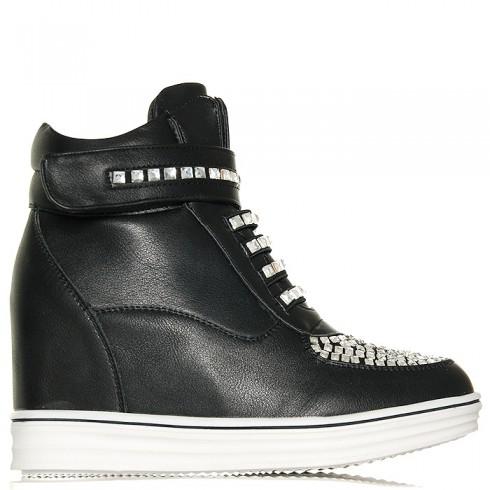 Sneakersy Czarne Zapinane Na Zamek Duże Cyrkonie 5985