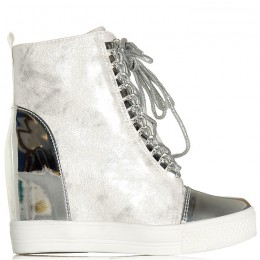 Sneakersy Białe Na Koturnie Ze Srebrnymi Wstawkami