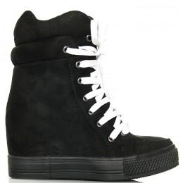 Sneakersy Czarne Proste Zamszowe - Białe Sznurówki
