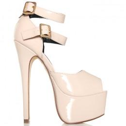 Sandały Wysokie Beżowe Sandały - Dwa Paski