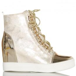 Sneakersy Złote Na Koturnie Ze Srebrnymi Wstawkami