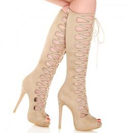 Sandały Sznurowane Gladiatorki - Beżowe Zamszowe