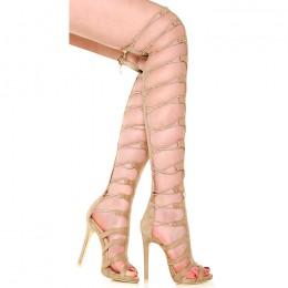 Sandały Porywające Gladiatorki Beżowe Gumki 6046