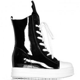 Sneakersy Lakierowane Czarne Wysokie Trapmki