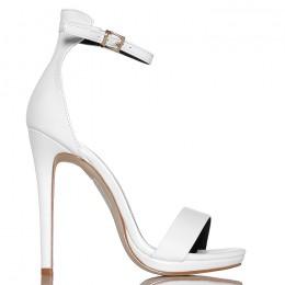 Sandały Kobiece Białe Klasyczne Na Szpilce