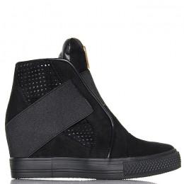 Sneakersy Czarne Wyjątkowe  Zakładana Guma 6076