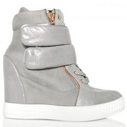 Sneakersy Szare Sznurowane Dwa Rzepy Biała Guma 6099