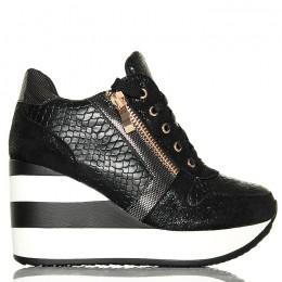 Sneakersy Wężowe Czarne Koturny W Paski
