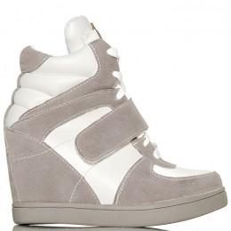 Sneakersy Na Koturnie Szare Na Rzepę 6111