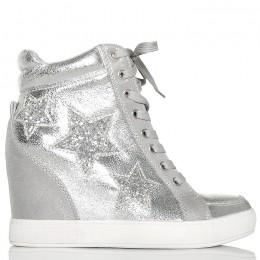 Sneakersy Srebrne Błyszczące - Brokatowe Gwiazdy