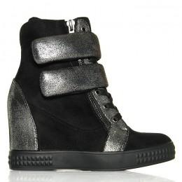 Sneakersy Czarne Sznurowane Dwa Rzepy Czarna Guma 6120