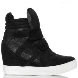 Sneakersy Czarne Na 2 Rzepy - Mieniące Wstawki