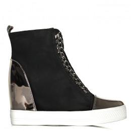 Sneakersy Czarne Srebrny Nosek Unikalne Wiązanie 6133