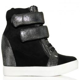 Sneakersy Czarne Na 2 Rzepy Ukryty Koturn 6139