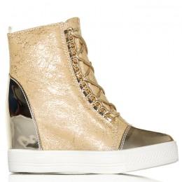 Sneakersy Beżowe Złoty Nosek Unikalne Wiązanie 6142