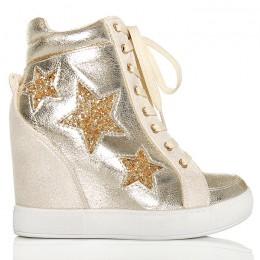 Sneakersy Złote Błyszczące - Brokatowe Gwiazdy