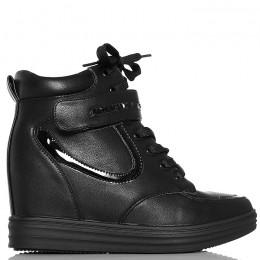 Sneakersy Czarne Sznurowane - Pasek Na Rzepę