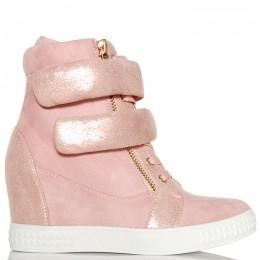 Sneakersy Różowe Sznurowane Dwa Rzepy 6158
