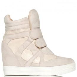 Sneakersy Beżowe Na 2 Rzepy - Mieniące Wstawki