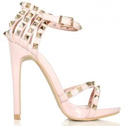 Sandały Lakierowane Różowe Pięta Złote Ćwieki 6136