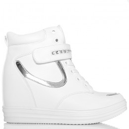 Sneakersy Biale Sznurowane - Pasek Na Rzepę