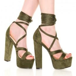 Sandały Inspirujące Zielone Wiązane Na Łydce 6123
