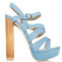 Sandały Jeansowe Jasne Drewniany Obcas Słupek