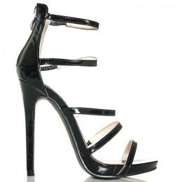 Sandały Czarne Paseczki - Zakryta Pięta SEXY