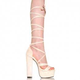 Sandały Inspirujące Beżowe - Wiązane Na Łydce