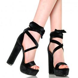 Sandały Czarne Welurowe Mega Wygodne - Sexy
