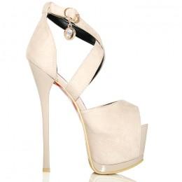 Sandały Beżowe Zamszowe - Zakryta Pięta - Wisiorek