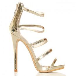 Sandały Złote Paseczki - Zakryta Pięta SEXY