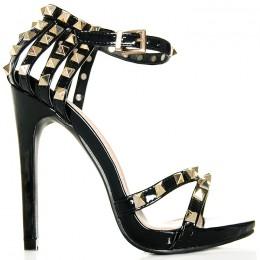 Sandały Lakierowane Czarne - Pięta Złote Ćwieki