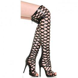 Sandały Długie Błyszczące Czarne Gladiatorki