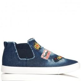 Trampki Ciemny Jeans - Modne Kolorowe Naszywki 6173