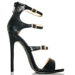 Sandały Czarne Delikatne 3 Paski - Złote Klamerki
