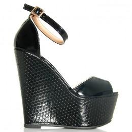 Sandały Czarne Lakierowane Efekt Plastra Miodu 6180